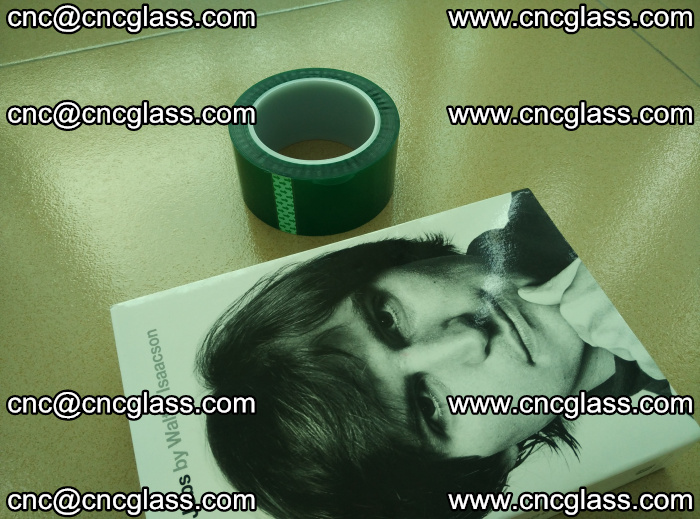 PET green tape, high temperature reistance, for safety glazing (8)