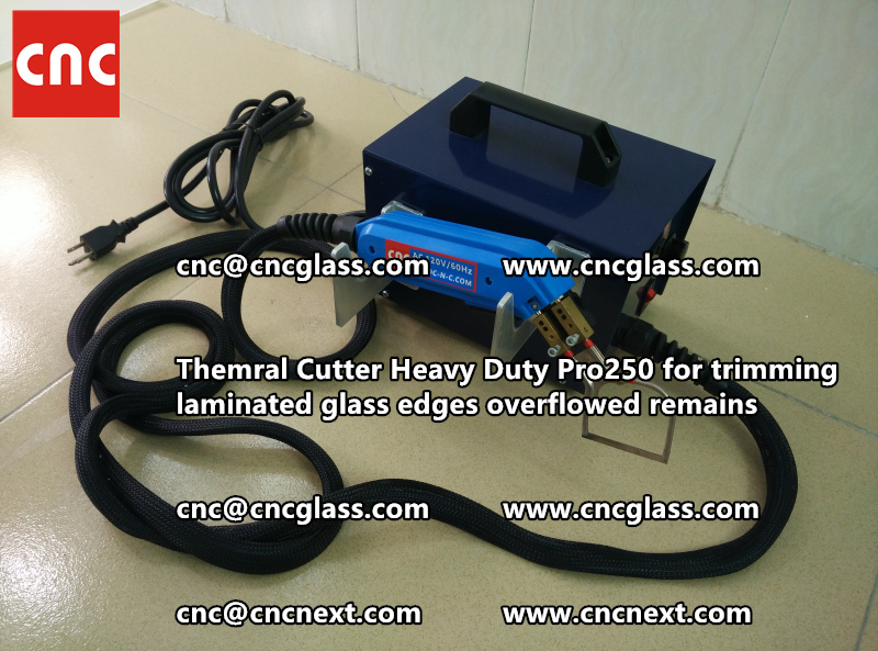 Hot knife heating cutter trimming laminated glass edges (101)