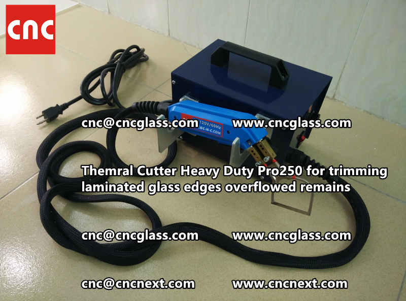 Hot knife heating cutter trimming laminated glass edges (103)