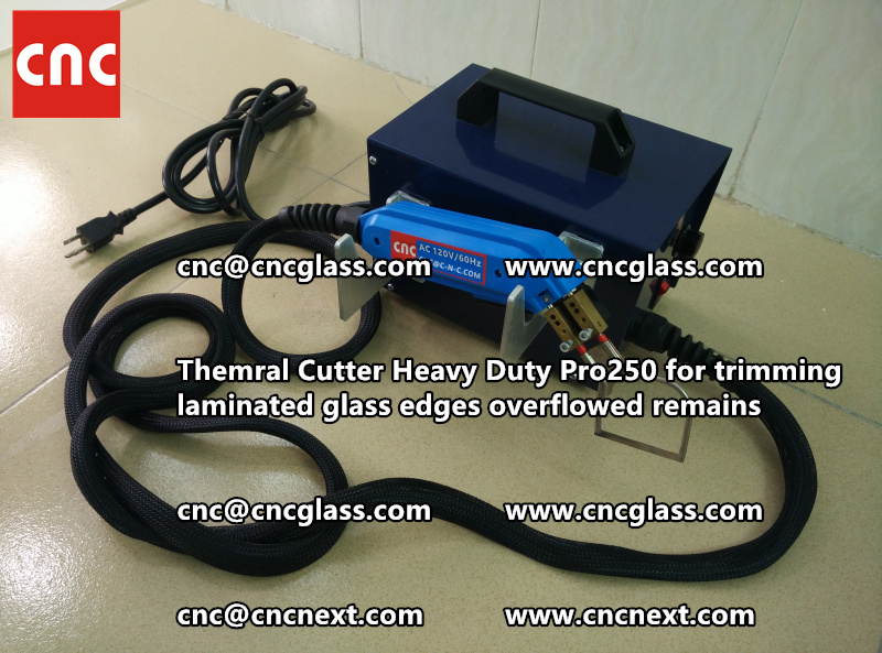 Hot knife heating cutter trimming laminated glass edges (99)